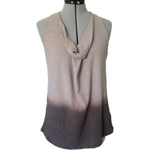 Gray Ombré Cowl Neck Loose Workout Tank Top Size S